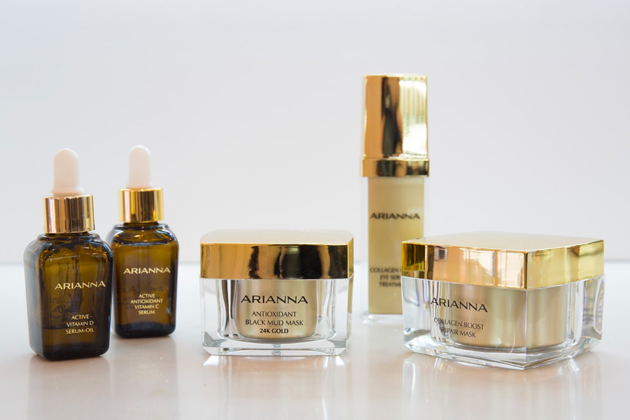 Arianna Skincare facial serums and masks in a clean background