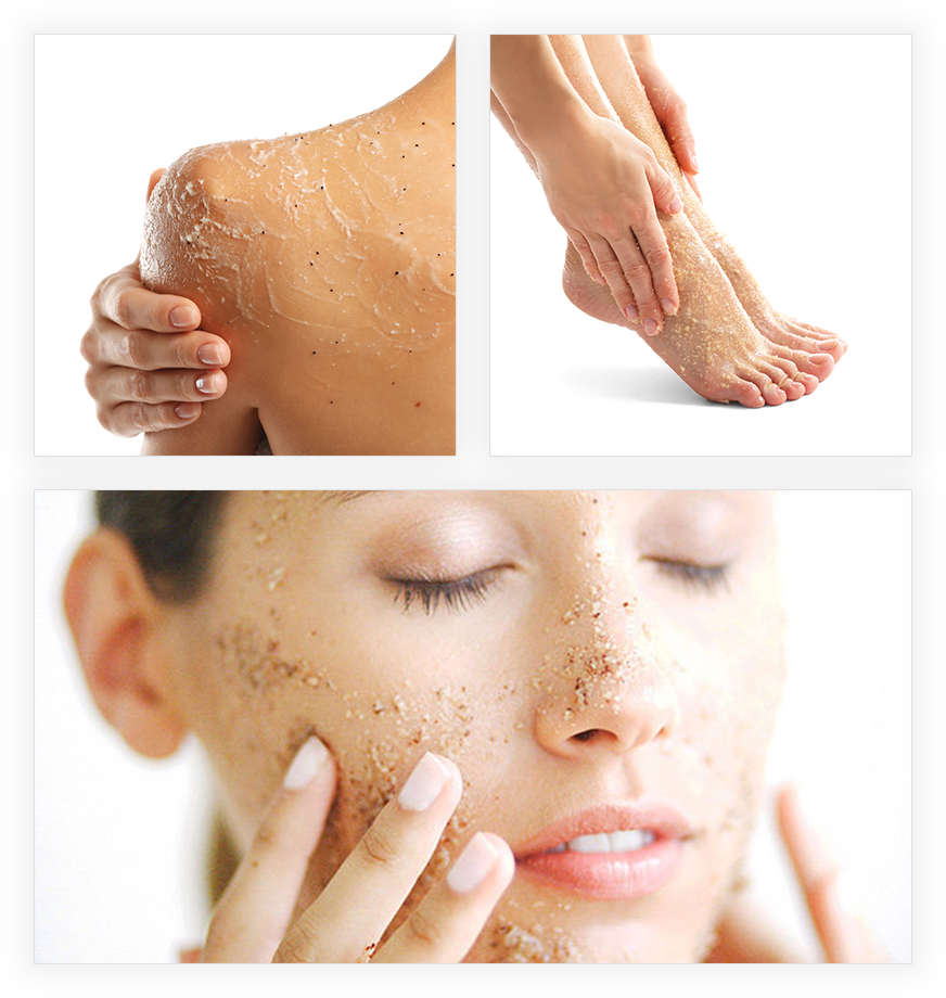body exfoliation in face, shoulder and feet