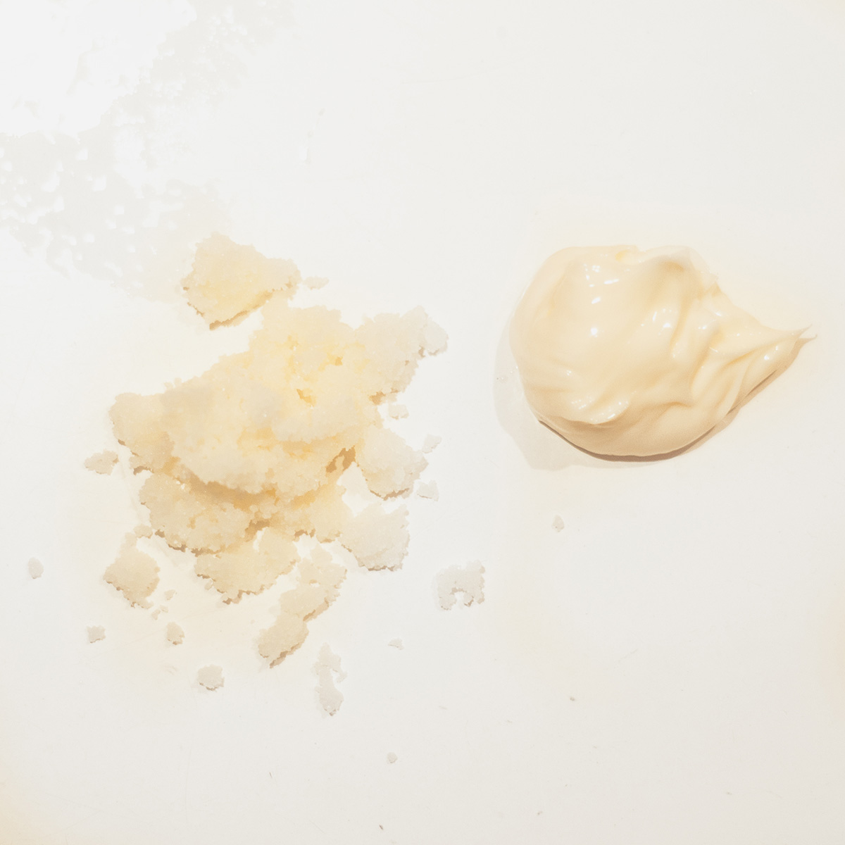 Textures of Ultra Exfoliating Body Treatment and Ultra Rich Mineral Body Butter
