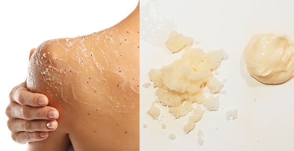 Young woman applying scrub on shoulder on white background and texture of Arianna's body scrub and body butter