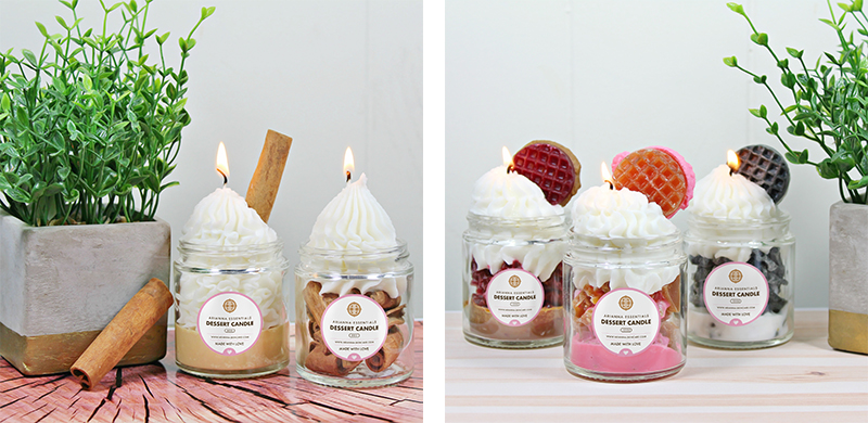 cinnamon candles and waffle candles