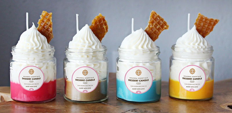 4-piece of colorful dessert-inspired candles: pink, brown, blue and yellow
