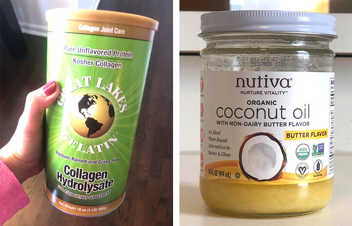 Good products for your skin: Collagen Hydrolysate and organic coconut oil from brand nutiva