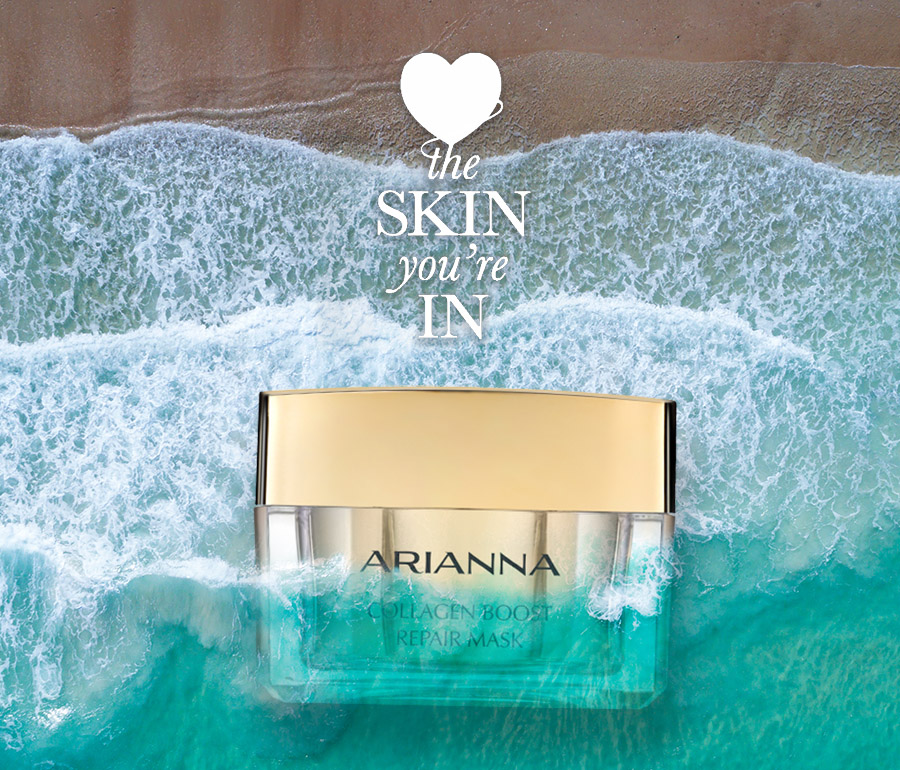 Collagen Boost Repair Mask placed in an ocean background