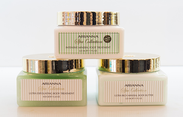 Arianna Spa Collection: Intensive Mineral Foot Treatment, Ultra Exfoliating Body Treatment, and Ultra Rich Mineral Body Butter