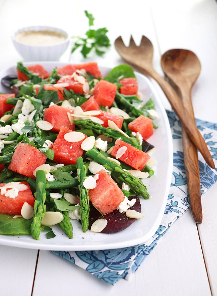 salad plate with asparagus, watermelon and sliced almonds