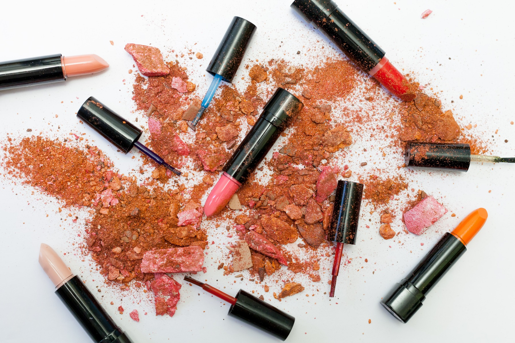 crumbling makeup and lipsticks